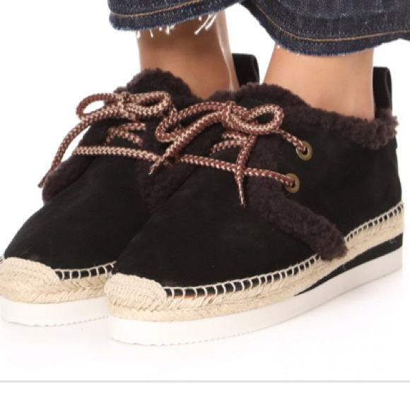 See By Chloe Shoes - See by Chloe shearling suede espadrille shoe
